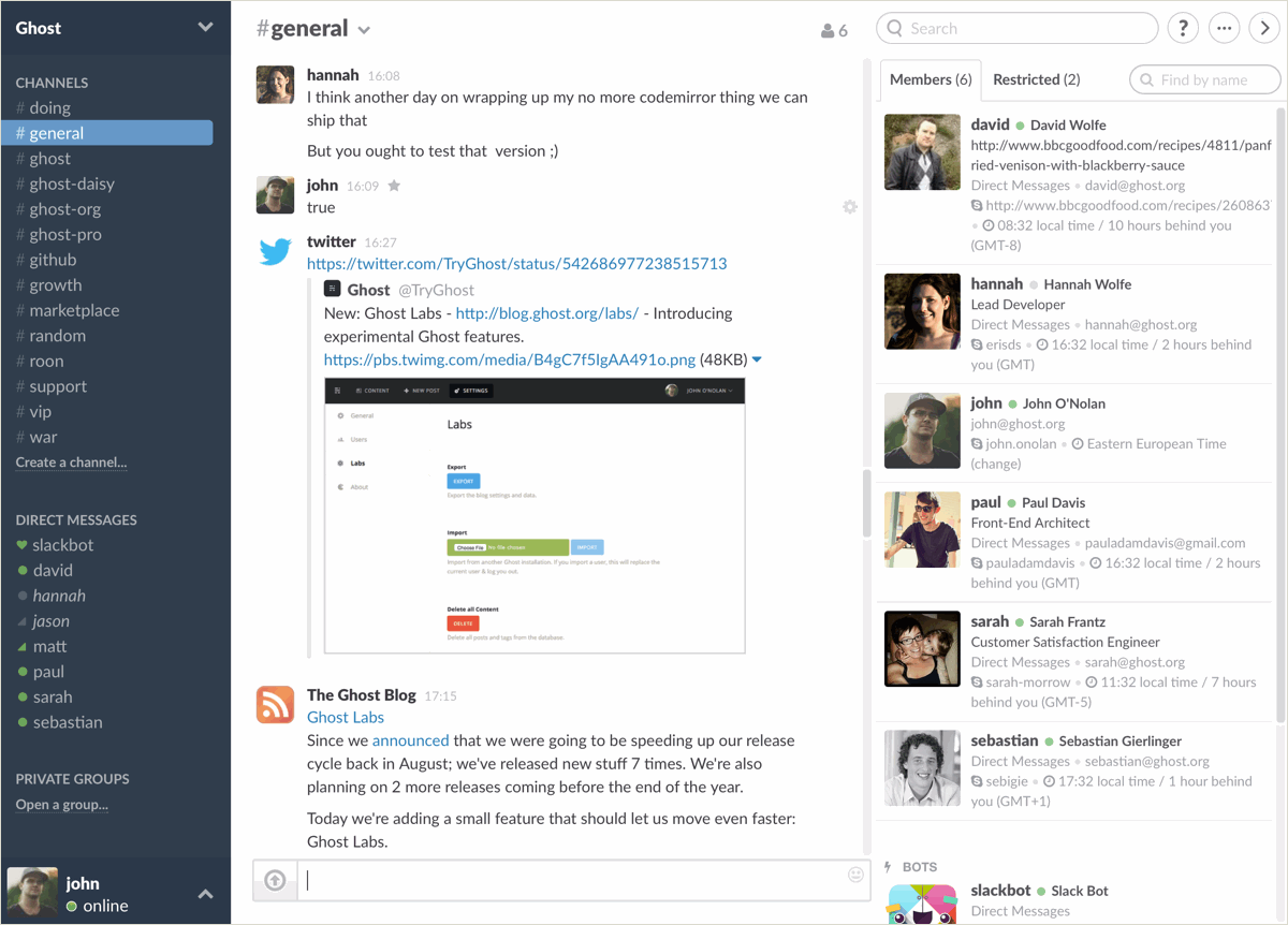 Ghost Slack Screenshot
