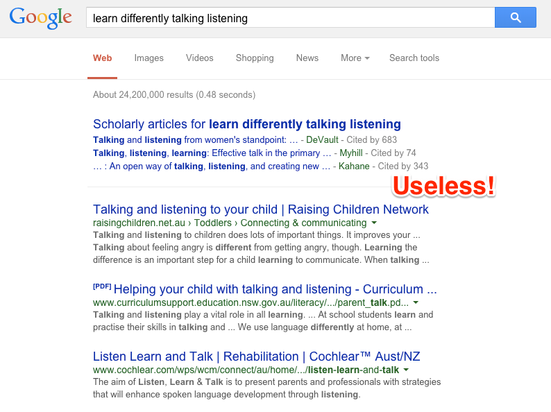 Useless Google results
