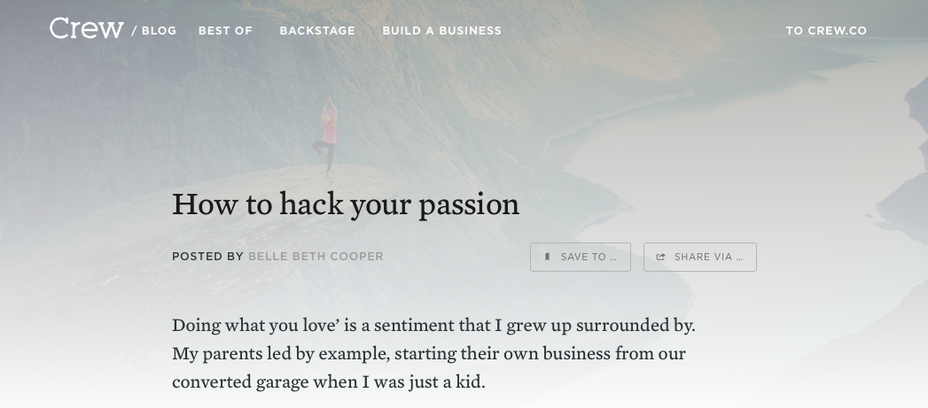 Hack your passion post