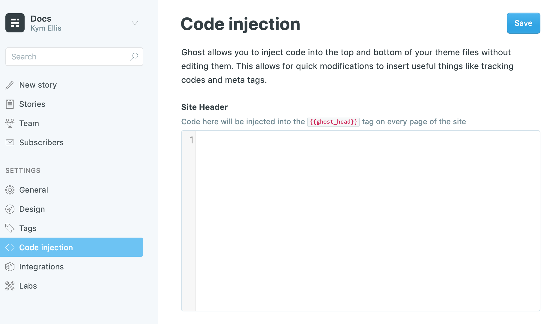 site-wide code injection in Ghost